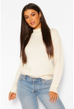 Cream white Roll Neck Jacquard Jumper