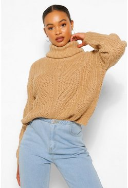 Camel beige Pointelle Roll Neck Jumper