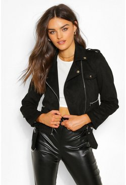 Black Suedette Belted Biker Jacket