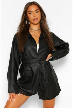 Mocha Collared Belted Faux Leather Jacket