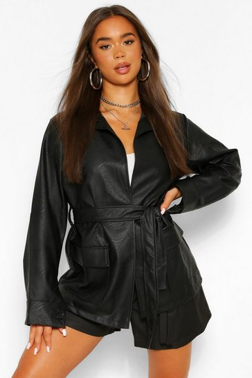 Black Collared Belted Faux Leather Jacket