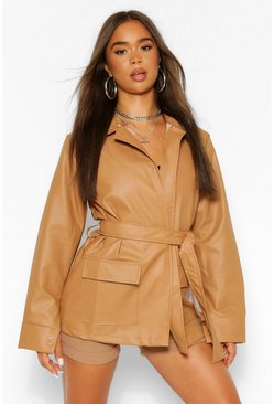 Mocha beige Collared Belted Faux Leather Jacket