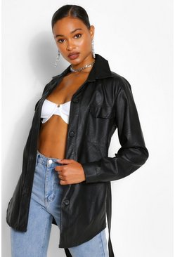 Black Belted Faux Leather Utility Jacket