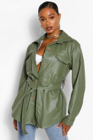 Khaki Belted Faux Leather Utility Jacket
