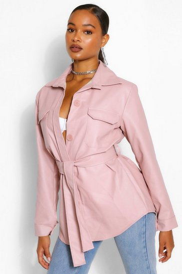 Nude Belted Faux Leather Utility Jacket
