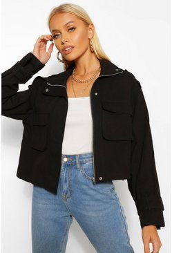 Black Zip Through Utility Pocket Jacket
