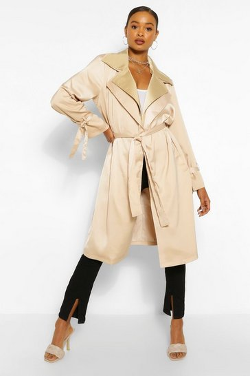 Stone beige Double Layer Oversized Trench Coat