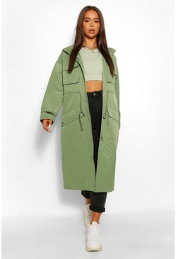 Khaki Utility Pocket Hooded Trench Coat