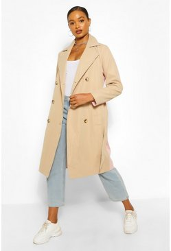 Pink Contrast Colour Trench Coat