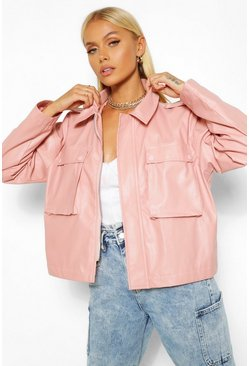 Dusky pink pink Boxy Pocket Detail Oversized Pu Jacket