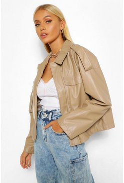 Stone beige Boxy Pocket Detail Oversized Pu Jacket