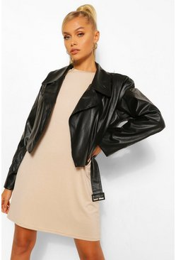 Black Oversized Pu Biker Jacket