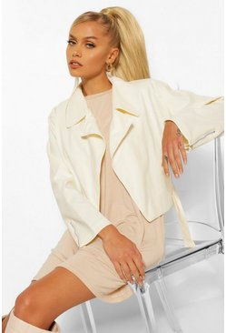 Cream white Oversized Pu Biker Jacket