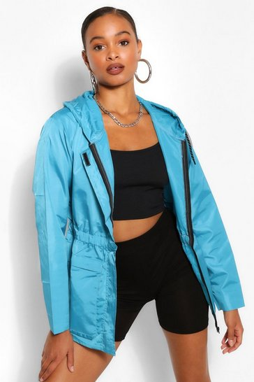 Blue Pocket Detail Shirred Waist Hooded Windbreaker