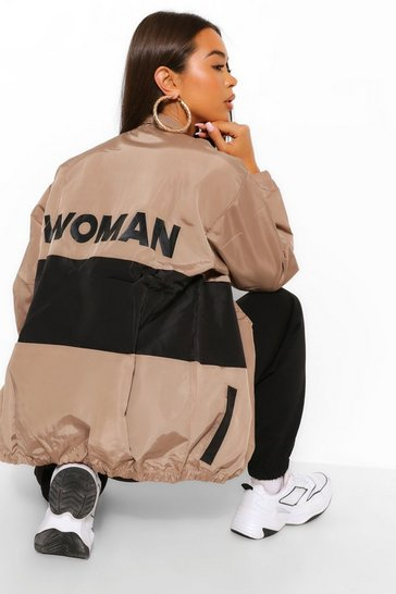 Black Woman Panelled Colour Block Windbreaker
