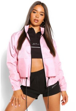 Baby pink pink Funnel Neck Drawstring Shell Windbreaker