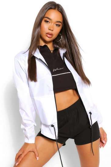 White Funnel Neck Drawstring Shell Windbreaker