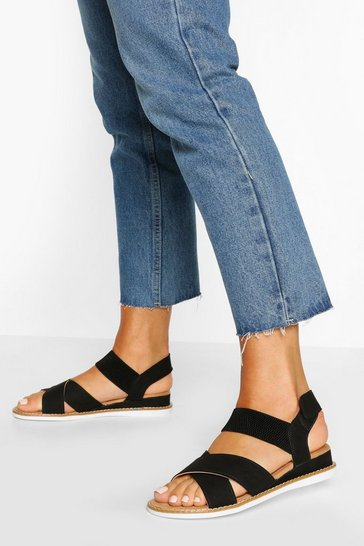 Black Cross Strap Elastic Sandals