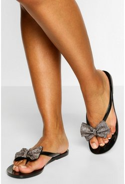 Nude Diamante Bow Detail Flip Flops