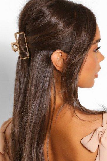 Gold metallic Rectangle Cut Out Metal Grip