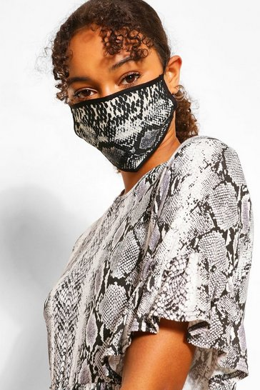 Grey Snake Fashion Face Mask