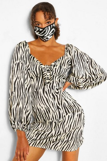 Black Zebra Fashion Face Mask
