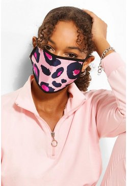 Pink Large Leopard Fashion Face Mask