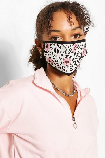 Grey Floral Leopard Fashion Face Mask