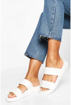 White Double Strap Jelly Sliders