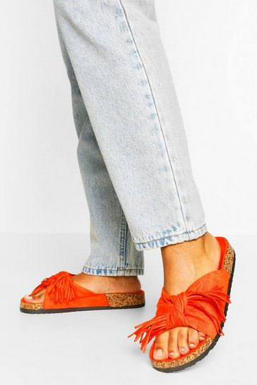 Orange Bow Detail Footbed Sliders