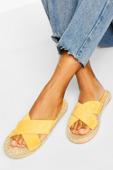 Yellow Cross Strap Espadrille Slider