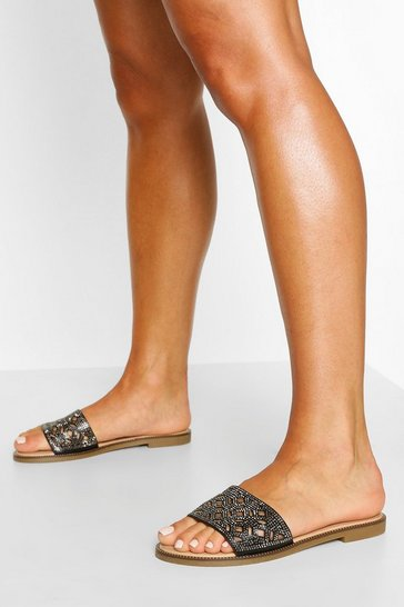 Black Cutwork Single Strap Sliders
