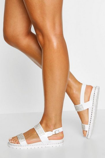 White Embellished Double Strap Sandals