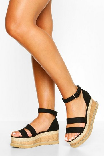 Black Double Strap Espadrille Flatforms