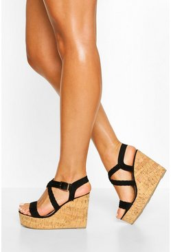 Black Woven Cross Strap Wedges