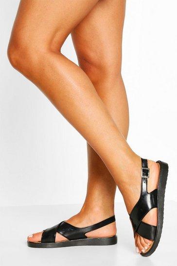Black Jelly Cross Strap Sandals