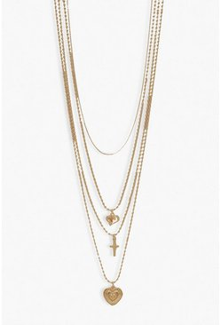 Gold metallic Heart & Cross Layered Necklace