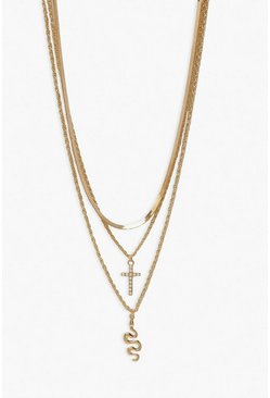 Gold metallic Cross & Snake Pendant Layered Necklace