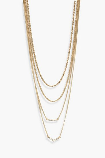 Gold metallic Diamante and Twisted Chain Layered Necklace