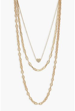 Gold metallic Heart Pendant & Mixed Chain Layered Necklace