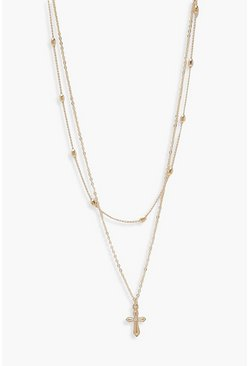 Gold metallic Simple Ball & Cross Pendant Layered Necklace