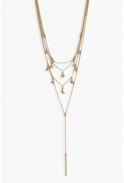 Gold metallic Diamante Star & Moon Layered Plunge Necklace