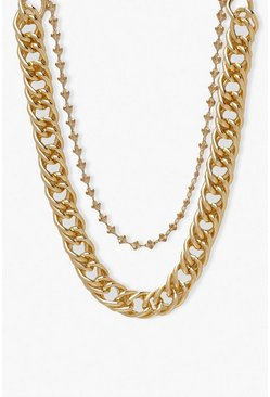 Gold metallic Chunky Chain Layered Necklace