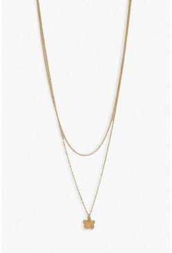 Gold metallic Butterfly Simple Layered Necklace
