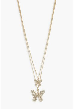 Gold metallic Double Butterfly Layered Necklace