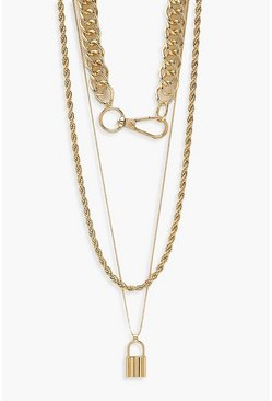 Gold Clasp Detail Choker & Lock Pendant Necklace