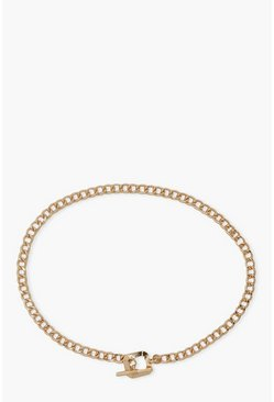 Gold metallic Square T-Bar Chunky Chain Necklace