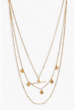 Gold metallic Delicate T-Bar and Disk Layered Necklace
