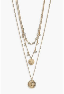 Gold metallic Diamante & Coin Layered Necklace