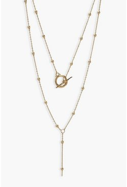 Gold metallic T-Bar & Ball Detail Drop Layered Necklace